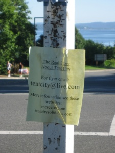 Flyer for Tent City, Mercer Island